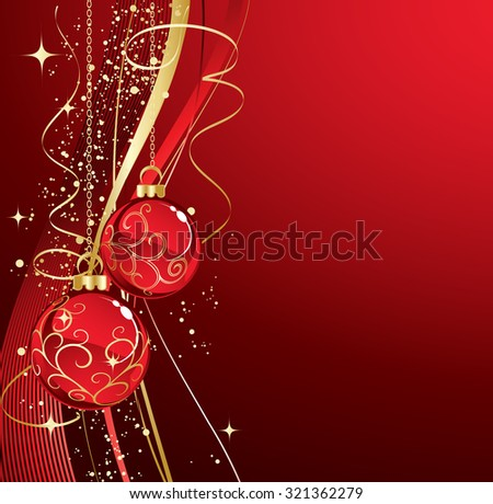 Red Christmas baubles - stock vector