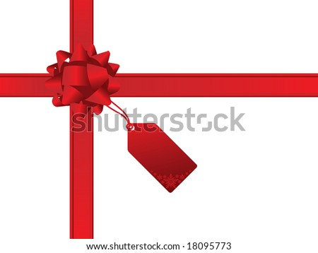 Red christmas bow and gift card - stock vector