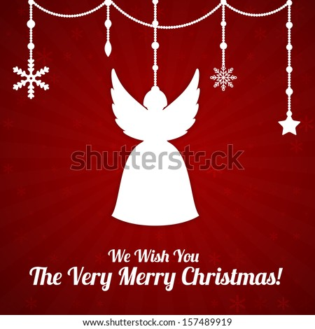 Red Christmas card with angel and beads - stock vector