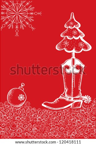 red christmas card with cowboy boot and fir-tree - stock vector