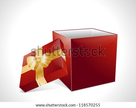 Red Christmas gift box background with gold ribbon and ow - stock vector