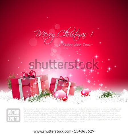 Red Christmas greeting card with gift boxes and baubles in the snow - stock vector