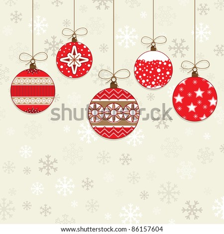 red christmas hanging decorations on snowflake background - stock vector