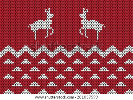 red Christmas ornamental embroidery with deers, vector background - stock vector