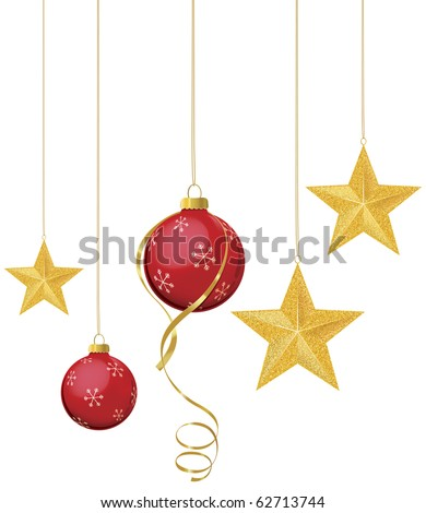 Red Christmas ornaments with gold stars hanging - stock vector