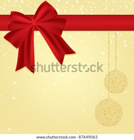 red christmas ribbon decoration - stock vector