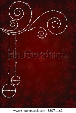 red christmas snowflake background with sparkle decorations - stock vector