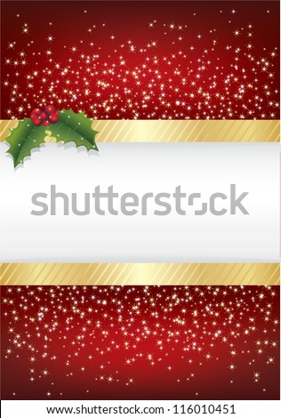 red christmas sparkle background with gold ribbon and holly, with space for text - stock vector