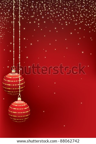 red christmas sparkle background with hanging decorations - stock vector