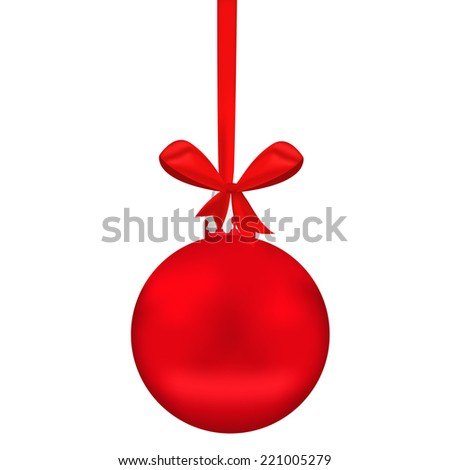 Red Christmas sphere with tape and bow on  white