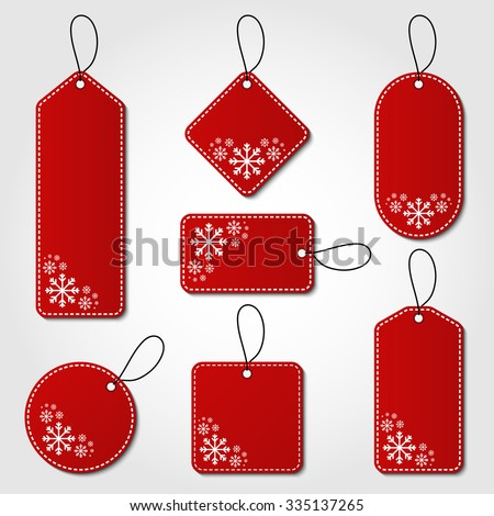 Red christmas tag collection with snowflake pattern and hangers. Sale promotion and gift card vectors in different shapes.