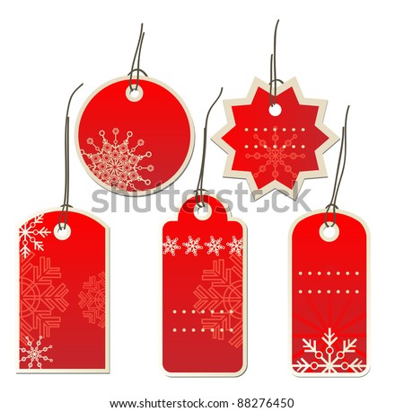 Red Christmas tags - stock vector