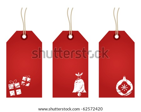 red christmas tags with festive decoration stamps isolated on white