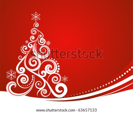 Red Christmas template with swirly tree - stock vector