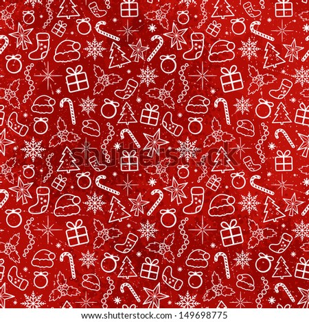 Red Christmas Traditional Pattern. Vector seamless texture - stock vector