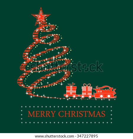 red christmas tree and train with a smoke and gifts on green background. VECTOR