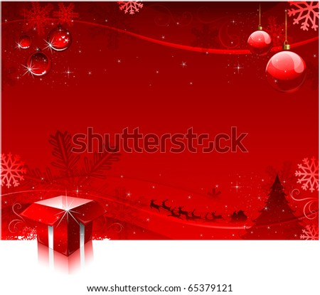 Red Christmas tree background beautiful greeting card design