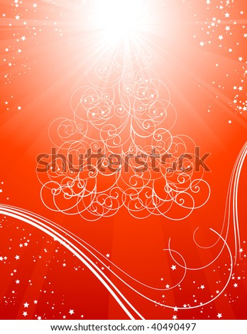 Red Christmas tree background with stars, vector illustration, EPS file included