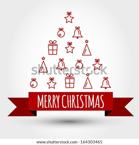 red christmas tree with big ribbon and symbols. christmas concept - stock vector