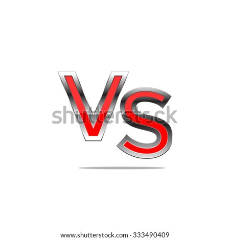 Red chrome alphabet VS, isolated on white. generated 3D photo rendering. - stock vector