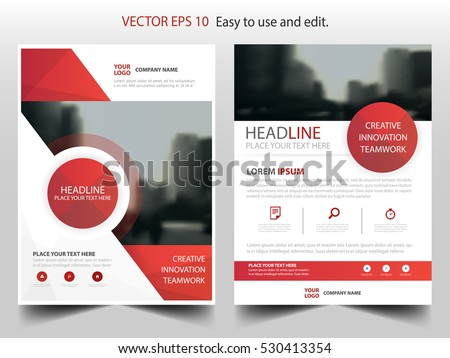 Red Circle Annual Report Brochure Design Stock Vector
