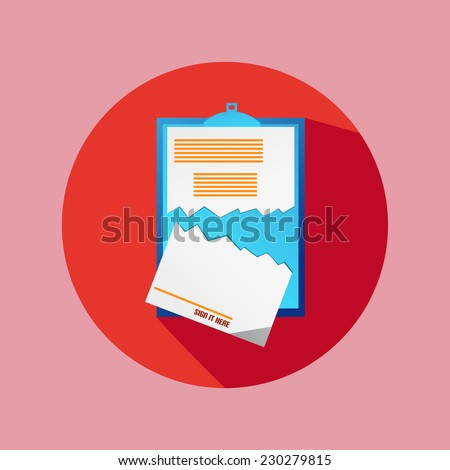 Red Circle Flat Cancel Contract Icon - stock vector