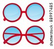 red circle nerd glasses over white background. vector - stock vector
