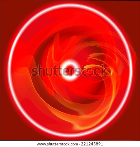 Red circle of fire - stock vector