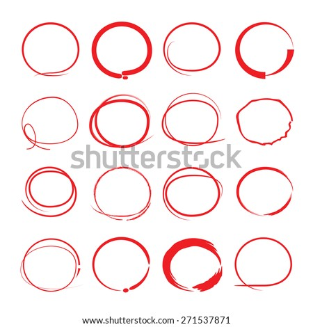 red circle set - stock vector