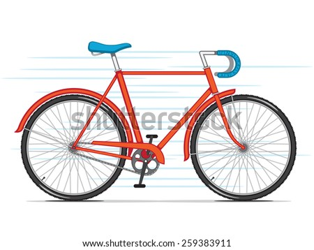 Red City Bicycle - stock vector