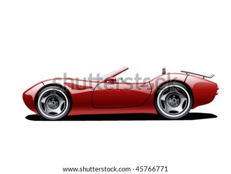 red classic convertible on white background, vector illustration, original design - stock vector