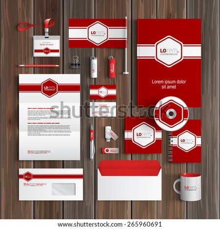 Red classic corporate identity template design with white central element and horizontal line. Business stationery - stock vector