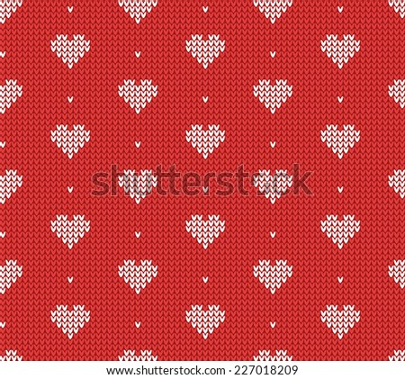 Red classic knitted pattern with hearts. Romantic background. Vector illustration. - stock vector