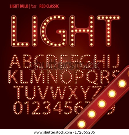 Red Classic Light Bulb Alphabet and Digit Vector - stock vector