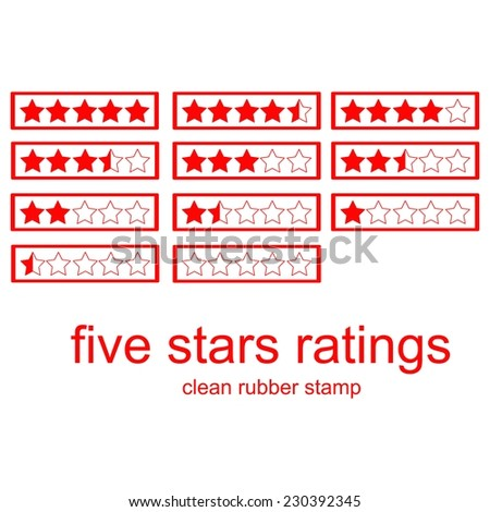red clean rubber stamp five stars ratings isolated on white, vector - stock vector