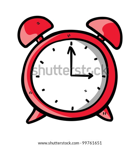 red clock doodle - stock vector