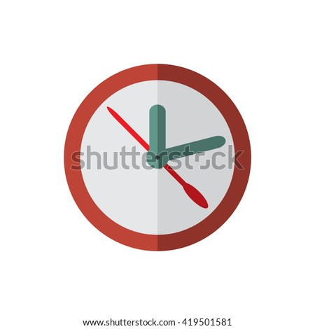 red clock, flat style vector illustration icon