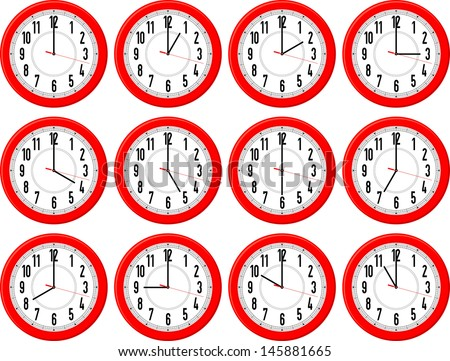 red clocks isolated on white background each showing a different hour - stock vector