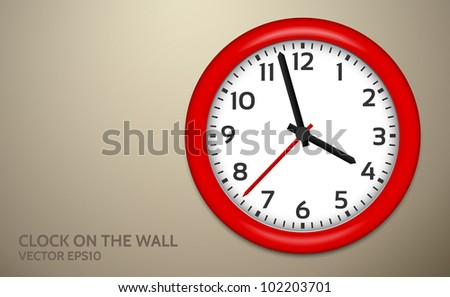 Red Clocks on brown wall - stock vector