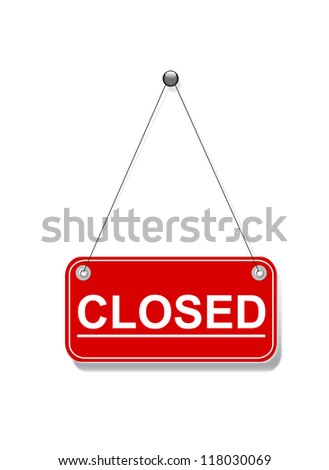 Red closed hanging sign on white