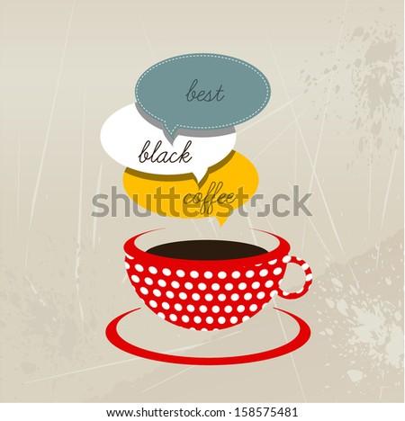 Red coffee mug. Vector illustration.  - stock vector