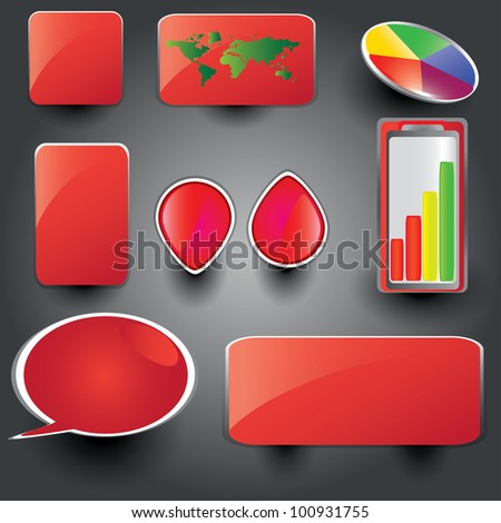 Red collection of brightly colored, glossy web elements Perfect for adding your own text or icons. Blends used to create drop shadow effect. - stock vector