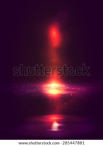 Red color abstract design with a fire, vector - stock vector