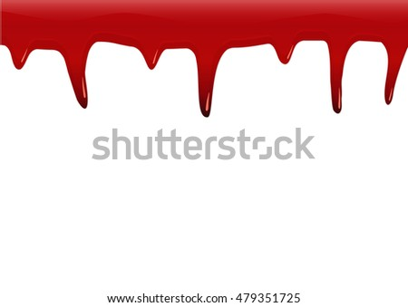 Red color dripping background that look like blood texture isolated on white. Halloween design concept. Vector illustration