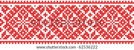red color embroidered good like handmade cross-stitch ethnic Ukraine pattern - stock vector