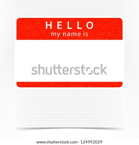 Red color name tag HELLO my name is. Pile blank stickers with drop gray shadow on white background. Copy space for text. Vector illustration clip-art element for design saved in 10 eps - stock vector