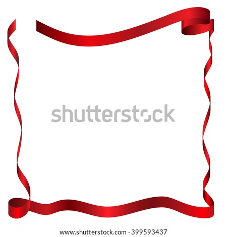 Red Color Satin Or Silk Ribbon And Square Frame On White Background