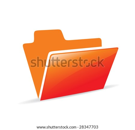 red color vector folder icon with document - stock vector