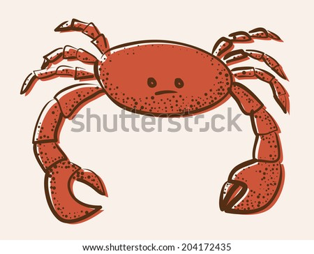 red colored crab abstract vector illustration - stock vector
