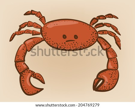 red colored crab with patch of reflected light abstract vector illustration - stock vector